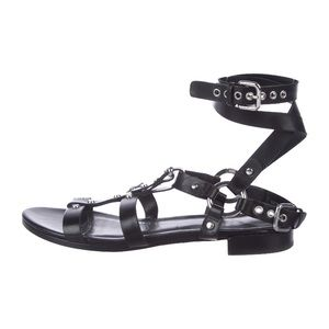 Stuart Weitzman leather ankle strap sandals.